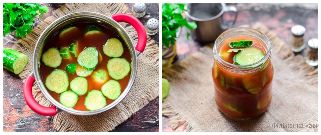 Огірки з кетчупом чилі на зиму - оригінальний рецепт з покроковими фото