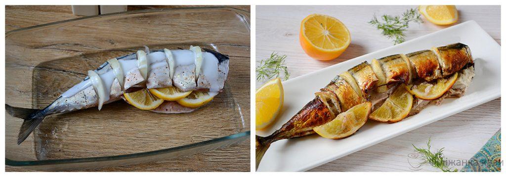 Скумбрія в духовці з цибулею в кефірі - оригінальний рецепт з покроковими фото