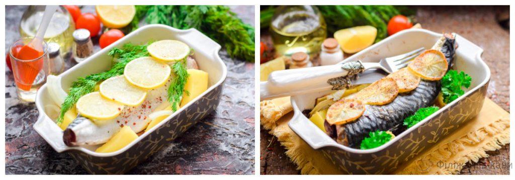 Скумбрія, запечена в духовці з картоплею - класичний рецепт з покроковими фото
