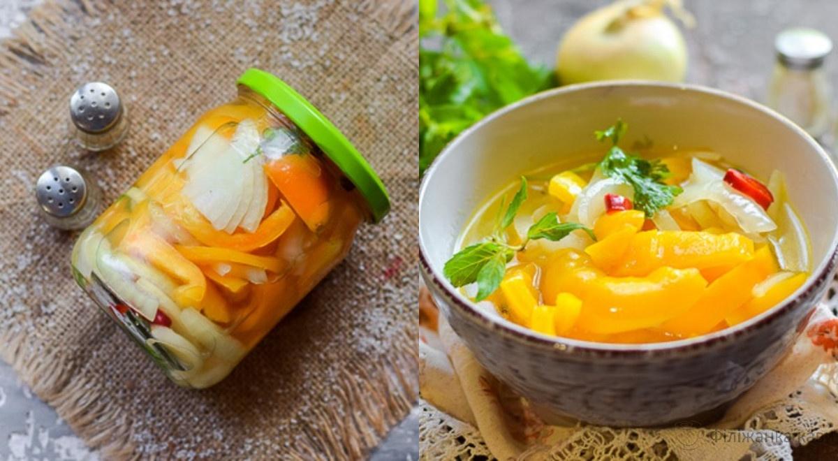 Маринований перець з цибулею на зиму - оригінальний рецепт з покроковими фото